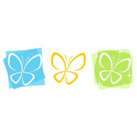 layered vector butterfly icons in three colors