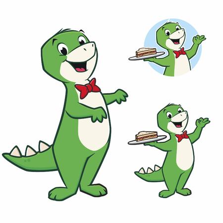 Cartoon vector illustration of a cute dinosaur for design element Ilustração