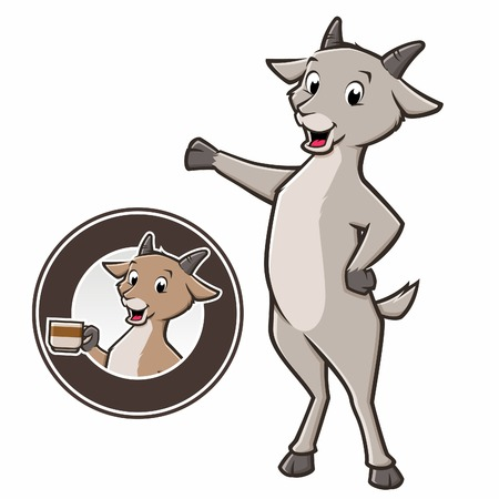 Cartoon goat standing and holding coffe mug in a circular badge