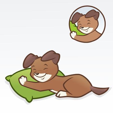 Puppy dog sleeping vector illustration for design element