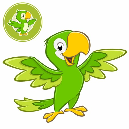 Vector illustration of a cartoon green parrot with separate badge Ilustração