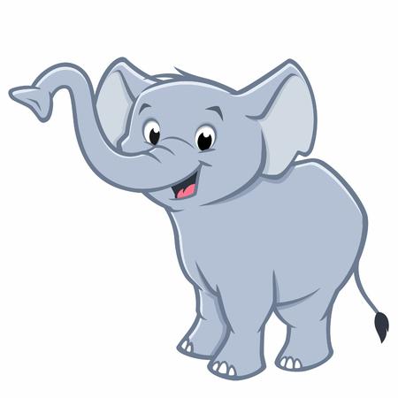 Vector illustration of a cute baby elephant for design element Ilustração