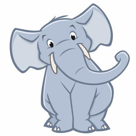 Vector illustration of a funny elephant  for design element Ilustração