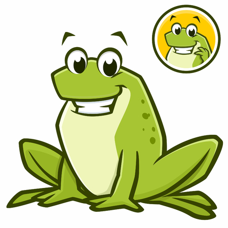 Vector illustration of a cartoon green frog for design element