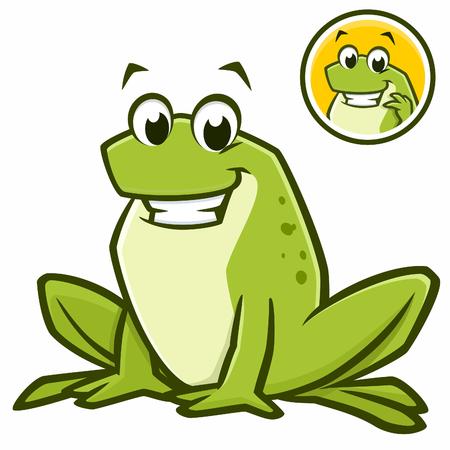 smirking: Vector illustration of a cartoon green frog for design element