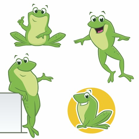 Vector illustration of  cartoon green frogs in various poses