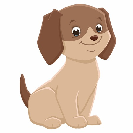Vector illustration of a brown cute puppy for design element Illustration