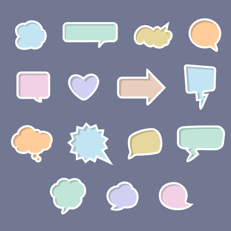 A set of colorful vector talk bubbles for design elements Ilustração