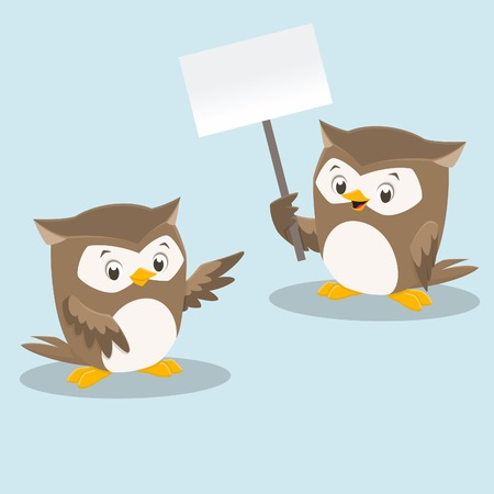 Vector illustration of cute owls for design element