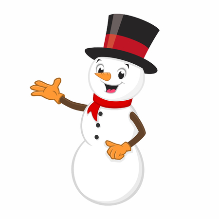Vector illustration of cartoon snowman for design element