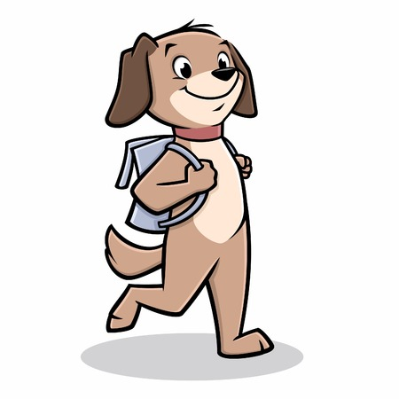 school: Vector illustration of a dog walking to school