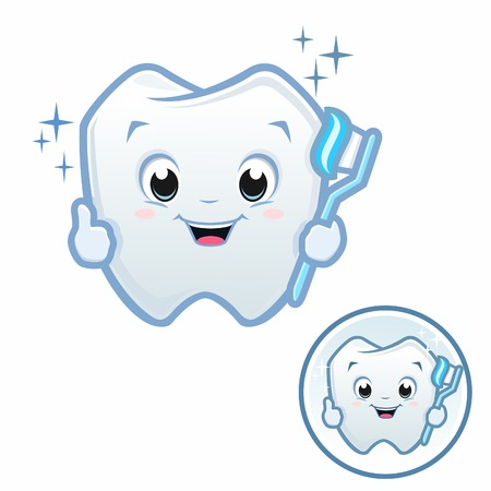 Vector illustration of cute cartoon baby tooth holding toothbrush wih emblem version included