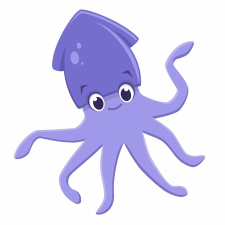 illustration of a cute squid cuttlefish  for design element