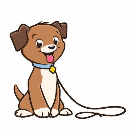 Vector cartoon cute puppy in a leash