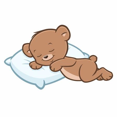 Vector cartoon illustration of sleeping teddy bear
