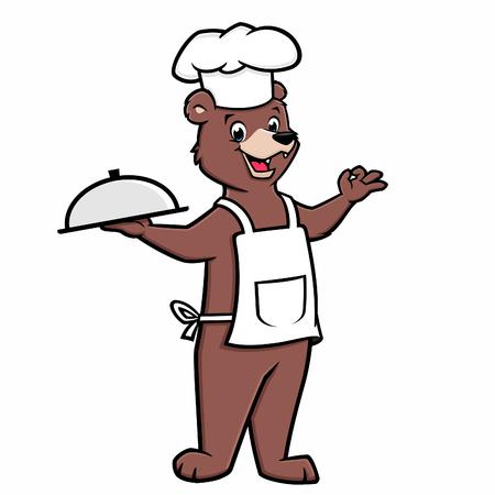 Vector illustration of bear chef holding a tray Ilustração