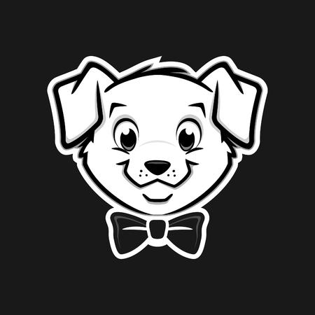 Cartoon vector puppy dog icon for design element