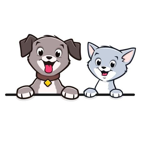 Cartoon dog cat for frame border element Ilustração