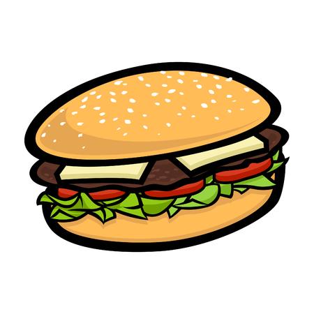 Cartoon vector burger illustration for design element