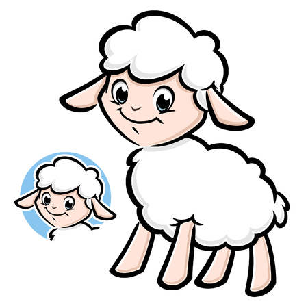 Vector illustration of a cute lamb for design element