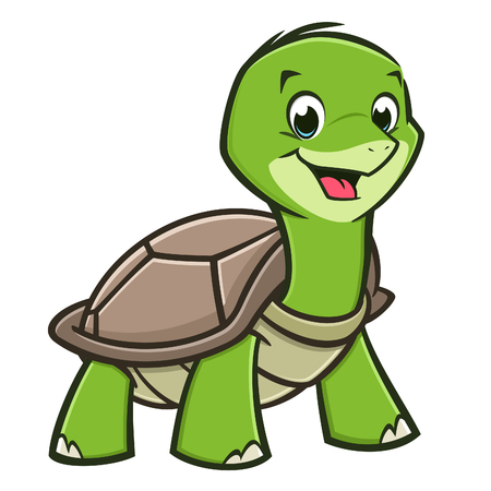 Vector illustration of a cutely smiling cartoon baby turtle Illustration