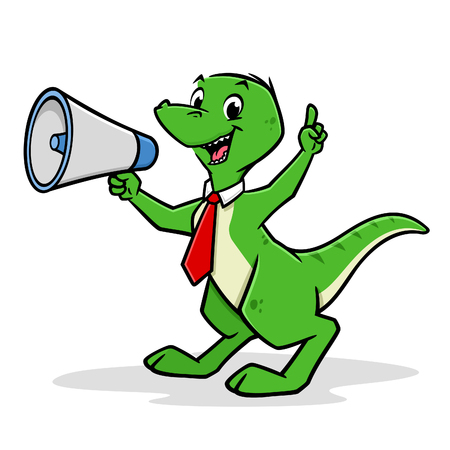 Vector illustration of a funny dinosaur shouting with megaphone for design element