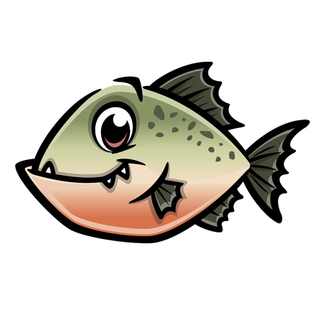 Vector illustration of a funny piranha for design element