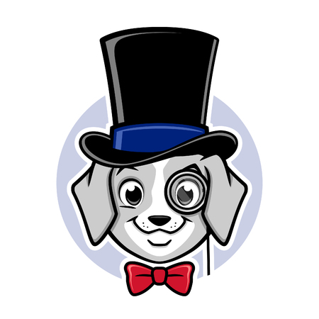 Cartoon vector puppy wearing top hat and monocle Ilustração