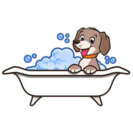 Vector illustration of a cute happy dog having a bath