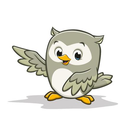 Vector cartoon illustration of a cute happy baby owl