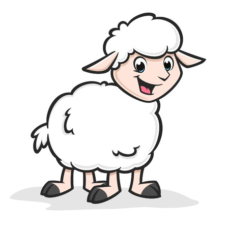 Vector illustration of funny happy sheep for design element
