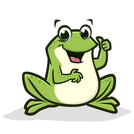 Vector illustration of a cartoon green frog, thumb up for design element Ilustração