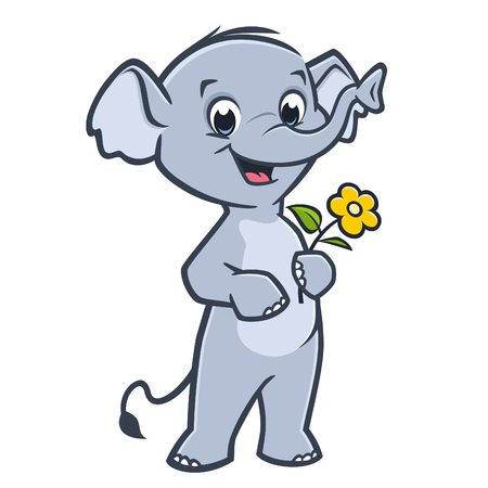 Vector illustration of a cute baby elephant holding flower