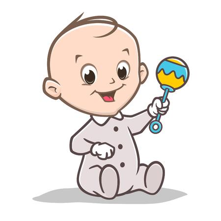 A Vector illustration of a cute baby holding rattler toy Ilustração