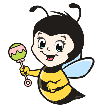 Vector illustration of a cute baby bee for design element