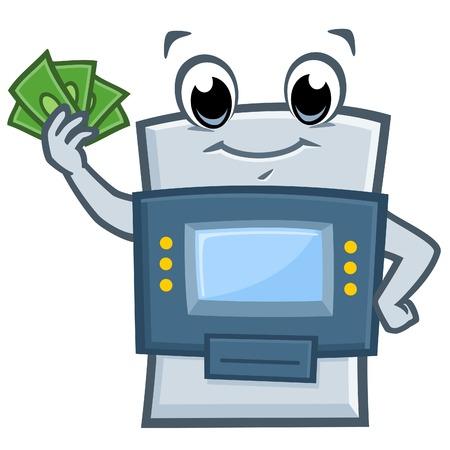 Funny ATM machine character illustration. Ilustração