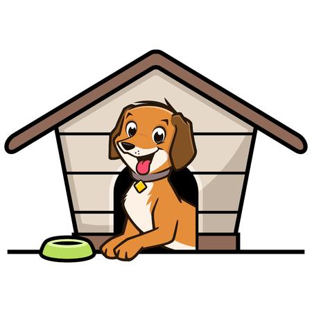 Vector illustration of a cute dog inside doghouse Ilustração