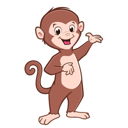 Vector illustration of cartoon cute baby monkey for design element