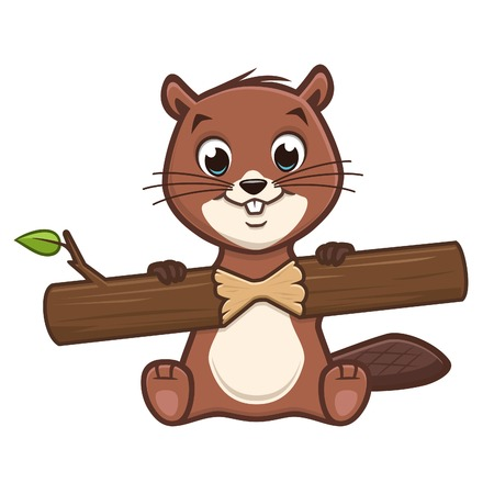 Vector illustration of cartoon cute baby beaver gnawing a tree bark
