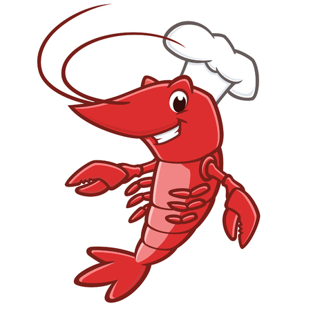 Vector illustration of a lobster wearing chef hat Archivio Fotografico - 117629424