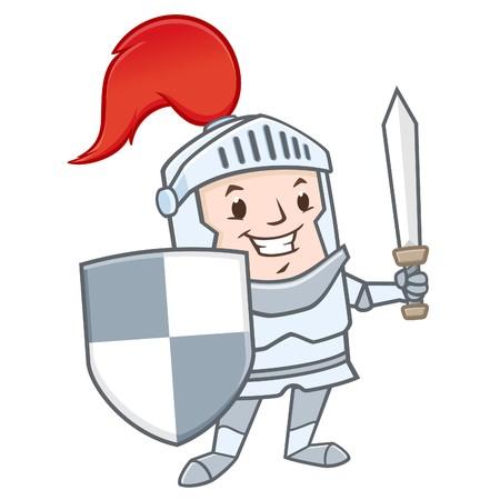 Vector illustration of funny  cartoon knight for design element