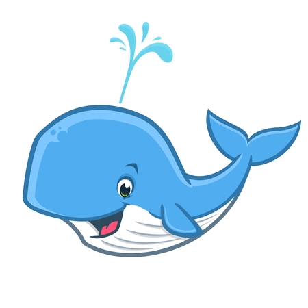 Vector illustration of a happy whale for design element