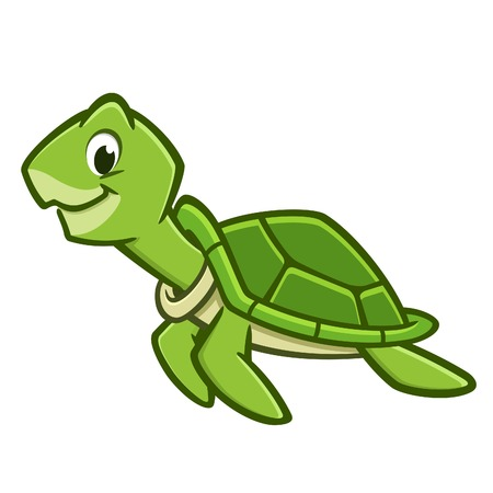 Vector illustration of a cutely smiling cartoon sea turtle