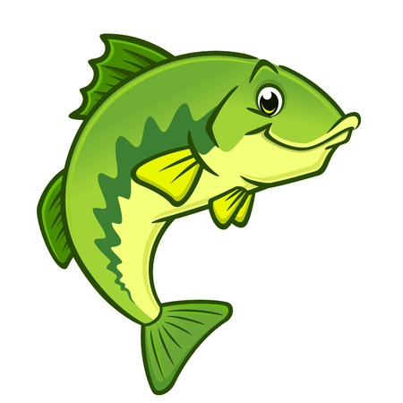 Vector illustration of a happy largemouth bass for design element Ilustração