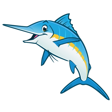 Vector illustration of a happy blue marlin for design element Archivio Fotografico - 122018078