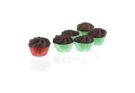 noel chocolat: Biscuits au chocolat de No�l isol� sur fond blanc