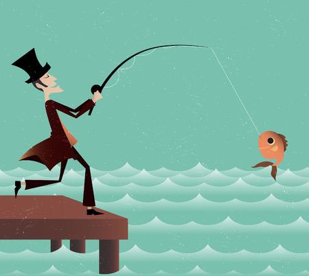 waterside: Gentleman is fishing on the bridge