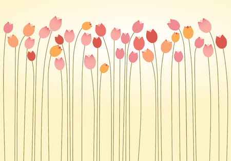 Horizontal Layer of Tulips Vector