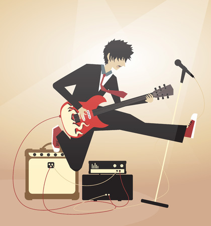 Boy playing on electric guitar and jumping Vector