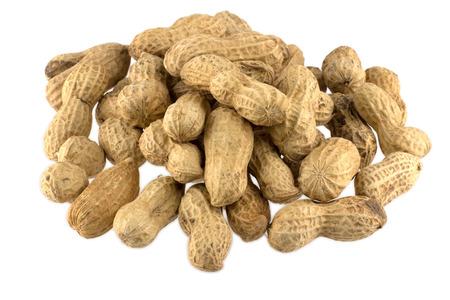 monkey nut: Many peanuts isolated on white background Stock Photo